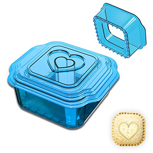 YICOCHI 6 Pcs Sandwich Cutter and Sealer, Square Uncrustbles Maker, Decruster Sandwich Maker for Kids, Blue