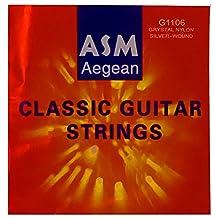 Cuerdas para guitarra española Tension normal (028 - 045) Entorchado plateado sobre hilo de nylon multifilamento Empaquetado individual para asegurar la frescura de las cuerdas Fabricadas en Korea