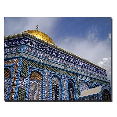 NIMCG Jerusalem Golden Temple Poster Muslim Mosque Wall Art Picture Religione Immagini da Parete per Soggiorno 30x40 cm (Senza Cornice)