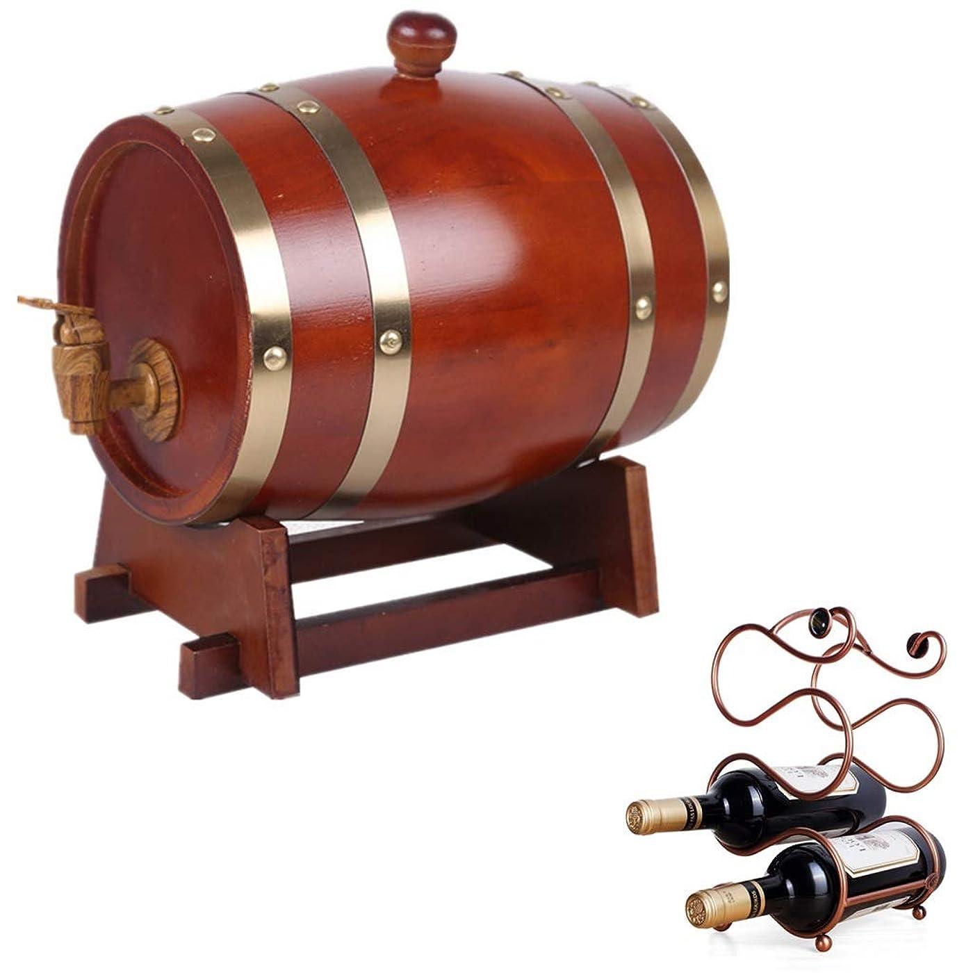 前提比べる違法ワイン樽 オークエージングバレル3L、ラムウイスキーワインブランデーの保存に適したワインラックが付いた手作りウイスキーディスペンサー ウイスキー樽 (Color : Chocolate, Size : 3L)