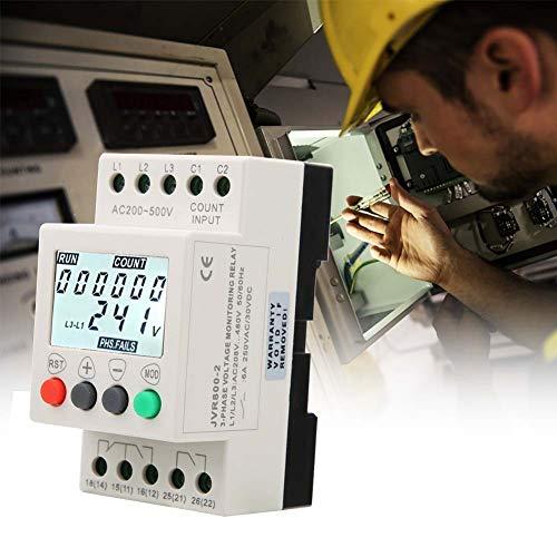 3 Phasen Spannungsüberwachungsrelais,208-480VAC 50/60Hz Spannungsschutzrelais,LCD-Anzeige Unter Spannung Phasenfolge-Schutzrelais 3 Phasen Überspannungsschutz