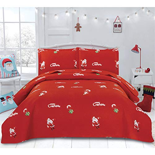 3 Pcs Xmas Bedding Set Lightweight Thin Christmas Quilts Full/Queen Size Bedspread Coverlet Set Santa Claus Deer Gifts Boxes New Year Bedroom Decor