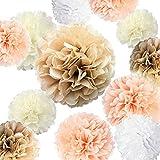 Kaptin Papier-Pompons, Papierblumen, bunte Blumen, Dekorationen, 35,6 cm, 25,4 cm, 20,3 cm, 15,2 cm, für Hochzeit, Geburtstag, Babyparty, Party-Dekoration (Champagner, Pfirsich, Elfenbein,...