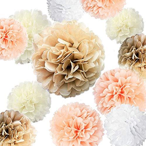 Kaptin Lot de 20 pompons, fleurs en papier, décorations colorées, 35,6 cm, 25,4 cm, 20,3 cm, 15,2 cm, pour mariage, anniversaire, fête prénatale, décoration (champagne, pêche, ivoire, blanc)