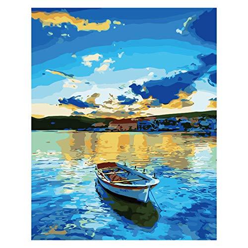 QDDRL Schilderij Door Getallen Canvas Diy Olieverfschilderij Voor Kinderen Volwassenen Beginner Met Borstels En Acryl Verf - Blauw Meer Boot 16 * 20 Inch(Zonder Framed)
