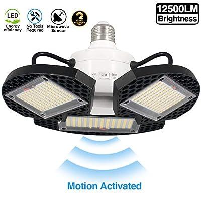 LED Garage Lights Motion Activated,100W Deformable LED Garage Ceiling Lights12500 LM CRI 80 Led Shop Lights for Garage, led Garage Light Motion Sensor Garage Lights with 3 Adjustable Panels100W1PK