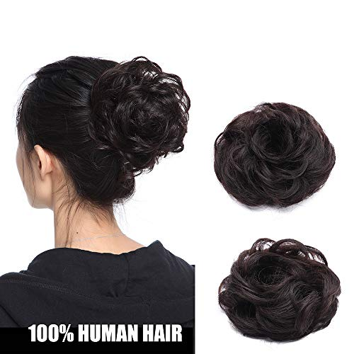 Chignon Capelli Veri Extension Elastico 100% Human Hair Ricci Hair Bun Coda di Cavallo Updo Effetto Naturale Voluminoso 23g #1B Nero Naturale