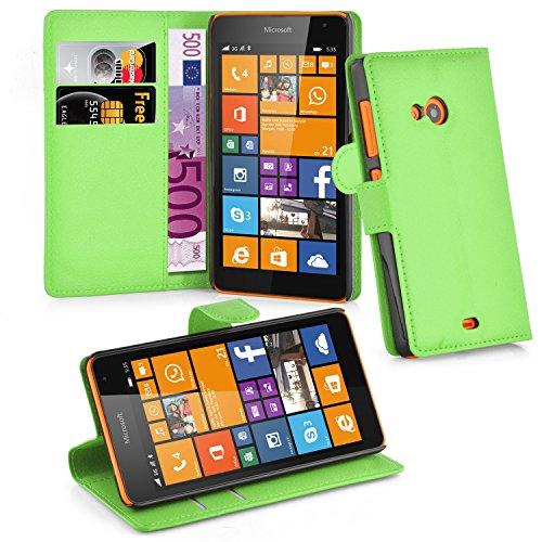 Cadorabo Hülle für Nokia Lumia 535 in MINZ GRÜN - Handyhülle mit Magnetverschluss, Standfunktion & Kartenfach - Hülle Cover Schutzhülle Etui Tasche Book Klapp Style