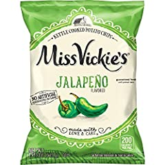 Pack of 28, 1.375 ounce bags of MISS VICKIE'S Jalapeno Flavored Kettle Cooked Potato Chips Thick cut and extra crunchy, made with specially selected farm grown potatoes Enjoy the great homemade taste of our original recipe, seasoned with the perfect ...