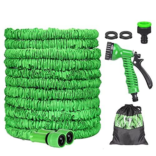 Manguera Jardín, Manguera Jardin Flexibles Extensible Antifugas, Manguera de Jardín 8 Tipos de Interruptores Pulverización para Riego de Plantas, Lavado de Autos, Ducha para Mascotas (50FT)