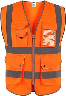 JKSafety Nueve bolsillos Nivel 2 Uniforme trabajo Chaleco con cremallera-Chaleco reflectante fluorescente-Chaleco de segurida Naranja(XX-Large)