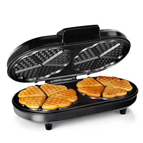 Macchina per waffle Tristar WF-2120 – Dieci waffle a forma di cuore alla volta – Corpo in acciaio inox