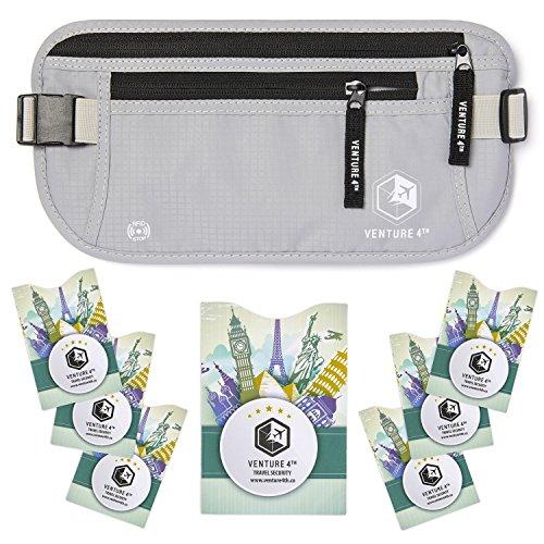 Marsupio Portamonete con Protezione RFID da Viaggio Nascosto Venture4th (Argento + 7 RFID Sleeves)