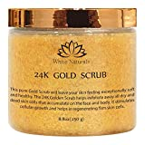 One Day Sale! Pure 24K Gold Scrub By White Naturals:Moisturizing Face&Body,Exfoliate With Anti-Aging Properties,Removes Dead Skin Cells,Reduces The Appearance Of Wrinkles&Repairs Sun Damage 8.8oz