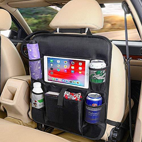 Auto Rückenlehnenschutz, Auto Rücksitz Organizer für Kinder, Große Taschen und iPad-/Tablet-Fach, Wasserdicht Autositzschoner, Kick-Matten-Schutz für Autositz 1 Stück
