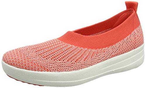FitFlop Womens Uberknit Slip-On Hot Coral/Neon Blush Ballet Flat - 8.5