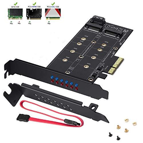 MZHOU Dual-M.2-SATA-III- und M2-zu-PCIe-3.0-X4-Adapterkarte - Hinzufügen von M.2-SSD-Geräten zu PC oder Motherboard, unterstützt 1 M.2-SATA-III-SSD (B-Key) und zweite M.2-PCIe-3.0-SSD (M-Key)