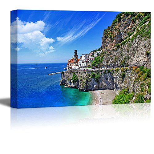 "wall26 - Canvas Prints Wall Art - Scenic Amalfi Coast, Atrani Village | Modern Wall Decor/Home Decoration Stretched Gallery Canvas Wrap Giclee Print. Ready to Hang - 24"" x 36"""