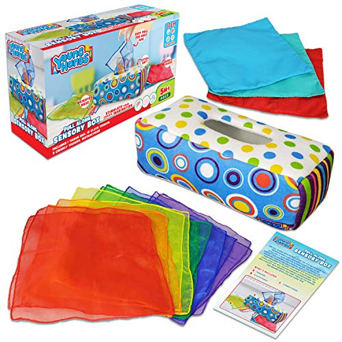 Sensory Pull Along Toddler Infant Baby Tissue Box - Colorful Juggling Rainbow Dance Scarves for Kids STEM Montessori Educational Manipulative Preschool Learning Toys – 5 Month 1-2-Year-Old Activities