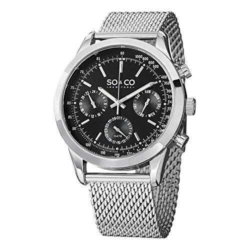 SO & CO New York 5006A.1 - Reloj de cuarzo para hombres, plateado