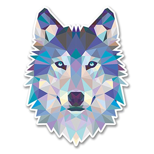 2 x 10cm Abstract Husky Wolf Vinyl Sticker Laptop Tablet Car Dog Animal #6214 (7.5cm Wide x 10cm Tall)