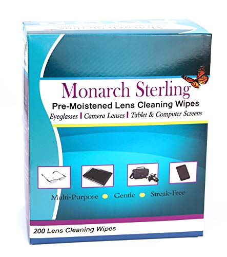 Monarch Sterling Pre-Moistened Lens Cleaning Wipes Perfect for Eyeglasses, Camera Lens, Tablets, Smartphones, and Screens 200 Individually Wrapped Wipes Per Box