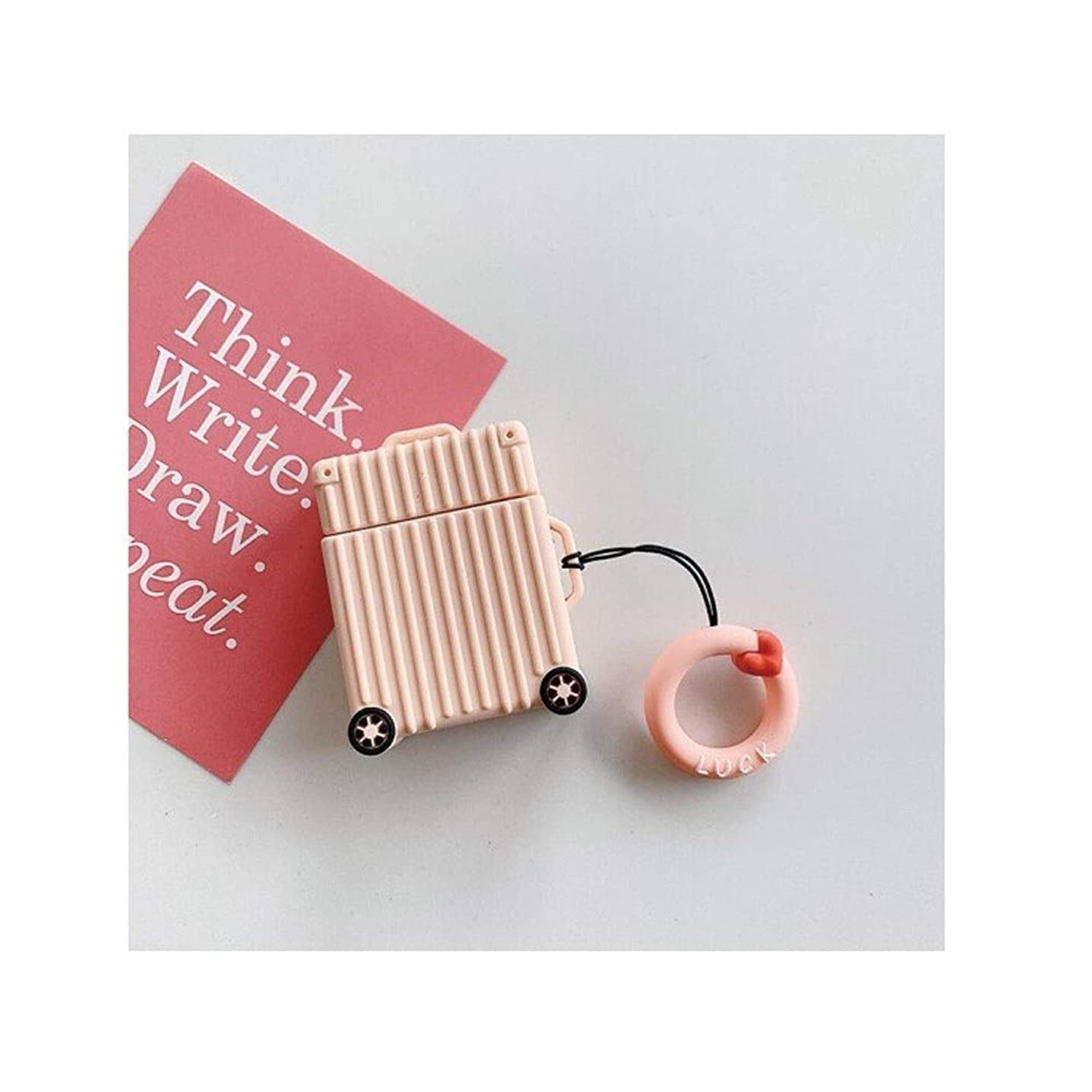 軍団配当器具YVCHEN ヘッドフォンカバー、AirPods1 / 2世代のシリコンケース、耐久性、贈り物になりやすい、小さなスーツケースのデザイン、絶妙な雰囲気(黒/緑/ピンク/紫/赤/黄) (Color : Pink)