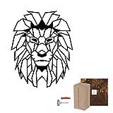 Rerum & Consilium geometrischer Löwenkopf XL in Schwarz | Made in Germany | 86,5 x 70 cm | 2 kg | unsichtbare Befestigung | Stahl | Löwenkopf/Löwe Deko