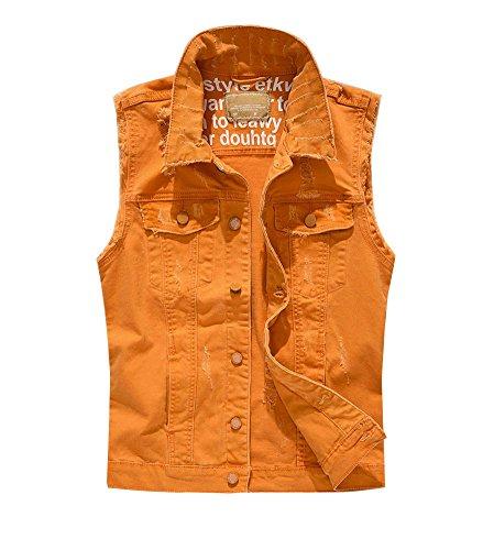 Guiran Herren Ärmellos Jeansjacke Weste Denim Jeans Weste Bikerweste Jeansweste Orange 2XL