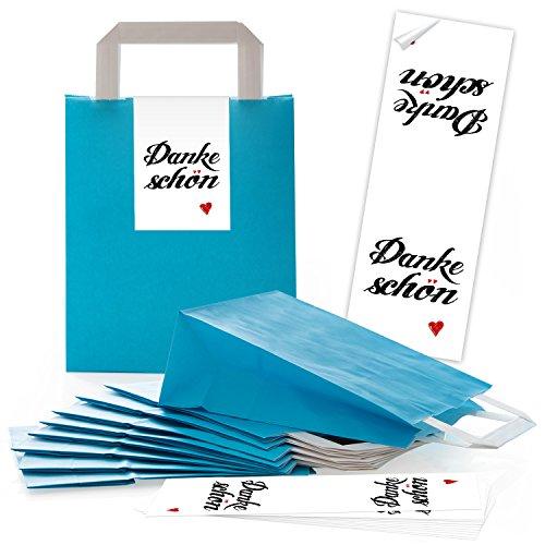 Logbuch-Verlag 50 blaue Henkeltüten aus Papier mit DANKESCHÖN Aufkleber weiß mit Herz - Papiertüte als Verpackung Geschenke Give-Away Kunden Gäste