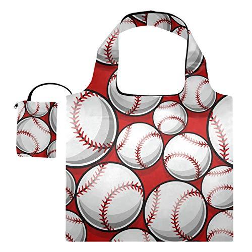 Bolsas de compras reutilizables – Bolsa plegable de béisbol para sóftbol grande, lavable a máquina, bolsas de tela de reciclaje con bolsa