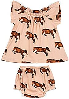 MilkBarn Short Sleeve Cotton Peasant Dress with Bloomer (Horses)