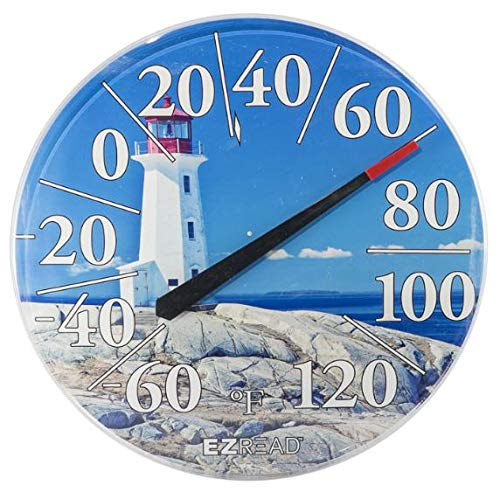 Headwind Consumer Products 840-1215 EZREAD Dial Thermometer Lighthouse, Blue White