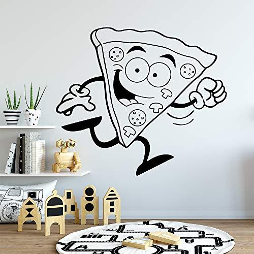 YuanMinglu Nette Pizza Schwamm dekorative Aufkleber wasserdicht Hauptdekoration Kindergarten Kinderzimmer Wanddekoration Hauptdekoration Zubehör schwarz XL 58cm X 66cm
