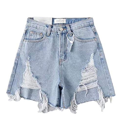 High Waisted Denim Shorts Roll Up Ärmel Riped Denim Kurze Shorts und Kurze Sexy Sommer Hole Jeans Damen Gr. L, hellblau
