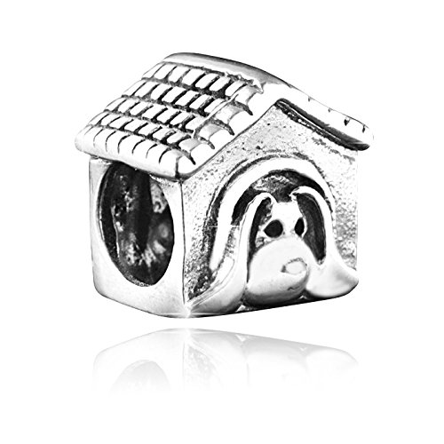 MATERIA 925 Silber Beads Hundehütte Anhänger antik - Beads Hund in Hütte Element für European Beads Armband #98