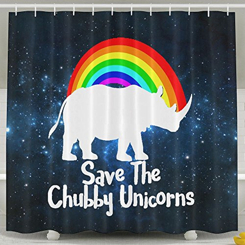 HUANGLING Save the Chubby Unicorn tenda da doccia 152,4x 182,9cm