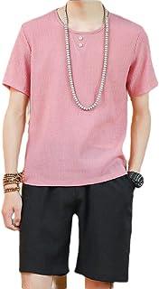 Men Linen Cotton Shorts Set Casual Loose Fashion Tracksuit Set