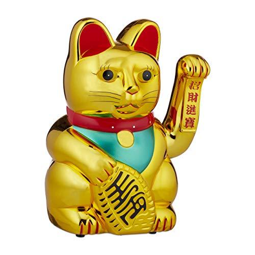 Relaxdays Maneki Neko Gato Chino de la Suerte XXL a Pilas, Plástico, Dorado, 48 cm