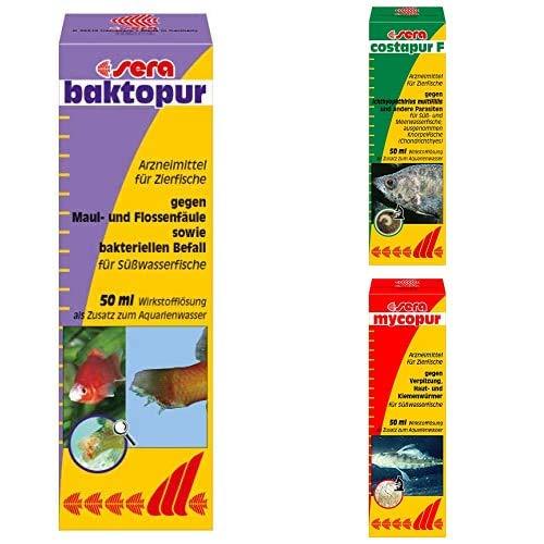 sera Bundle Zierfisch-Apotheke für den Notfall bestehend aus Baktopur, Costapur und Mycopur jeweils in 50ml