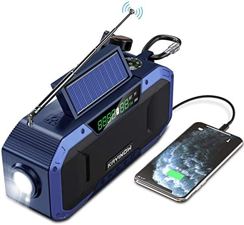 Portable Bluetooth Speaker w AM FM Radio 5000mAh Battery Powered Emergency Hand Crank Radio product image