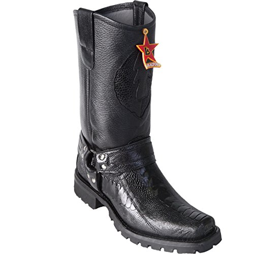 Original Black Ostrich Leg Leather Biker Toe Boot