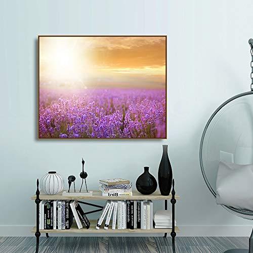 hetingyue Lavendel Wohnkultur Wandkunst Leinwand Malerei Bilder lila Blumen Provence Poster und Drucke rahmenlose Malerei 60x80cm