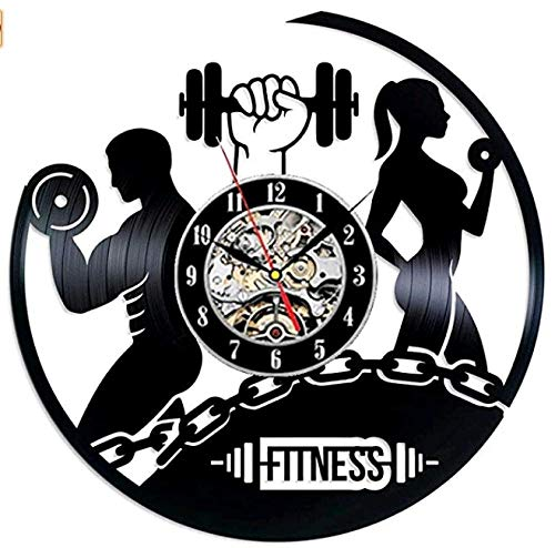 Vinilo Pared Reloj Fitness Hombres y Mujeres Disco Retro un Reloj de Pared Grande con un Tema Regalo Creativo del Reloj de Pared Hecha a Mano 12 Pulgada(Sin Luces)