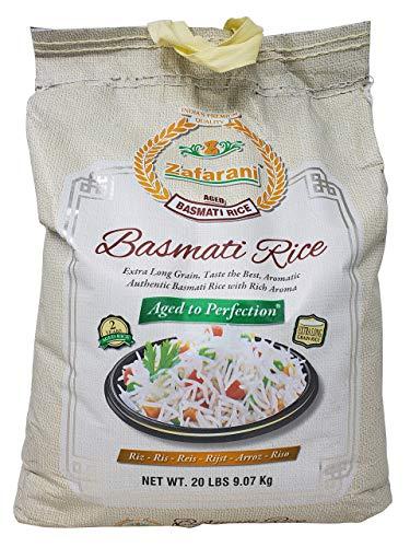 Zafarani Aged Basmati Rice Aromatic Extra Long Grain Rice from India 20 LB
