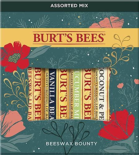 Burt's Bees Holiday Gift, 4 Lip Balm Stocking Stuffer Products, Beeswax Bounty Assorted Set - Original Beeswax, Vanilla Bean, Cucumber Mint & Coconut Pear (New Verison)