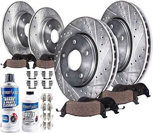 Detroit Axle - 4WD Front and Rear Drilled & Slotted Rotors + Brake Pads...