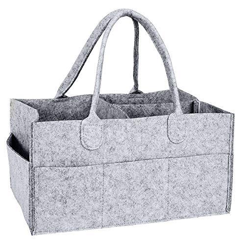 Cxssxling - Cesta de pañales para bebé (fieltro, 33 x 22 x 17 cm), color gris