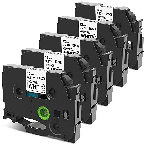 Nastro per Etichette Wonfoucs Compatibile In sostituzione di Brother TZe-231 TZe231 12mm 0.47 Laminated Nastro Nero su Bianco per Brother P-Touch H105 H107 H110 1000 1010 H100LB 1250, confezione da 5