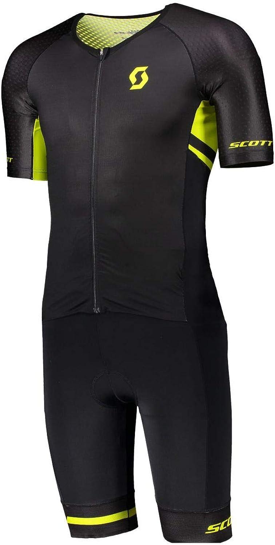 Scott Plasma LD Suit Triathlon Fahrrad Body Einteiler kurz schwarz gelb 2019